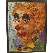 Mid Century Modern Sad Clown Painting Signed  Original Vintage