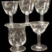 5 Vintage Small  Glasses Etched Swans Different Shapes Stemmed Stemware