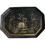 Antique Toleware Tray Stenciled Swan & Flowers Black and Gold