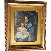 LAYAWAY - Miniature Portrait Painting by C.F. Cooper of Mrs Adeline D. Wilson & Daughter Philadelphia, PA