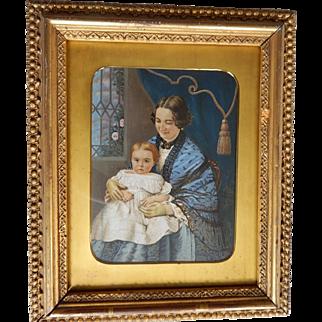 Miniature Portrait Painting by C.F. Cooper of Mrs Adeline D. Wilson & Daughter Philadelphia, PA