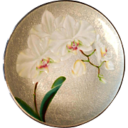 """HOLD for MB - Japanese 11 7/8"""" Wireless Cloisonne Enamel on Copper Plate Orchids Oriental"""
