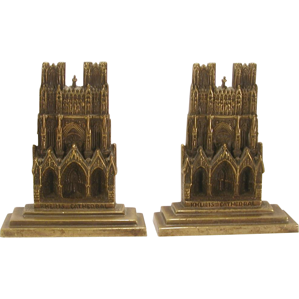 Vintage brass rheims cathedral bookends from agoantiques on ruby lane - Antique brass bookends ...
