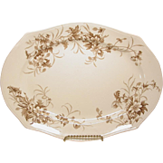 Antique Transferware Platter Smith Ford & Jones Anemone Brown Flowers