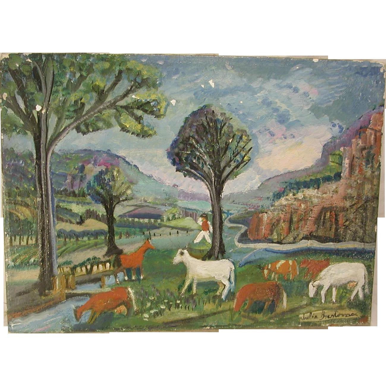 Landscape Lighting Ocala Fl: Naive Folk Art Landscape Painting Oil On Canvas Cows