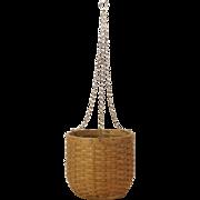 C.1920 Handmade Small Splint Basket Hanging Planter