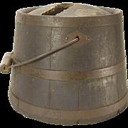 Wooden Shaker Bucket Kerosene Pail Domed Top As Is