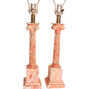 Pair Marble Corinthian Column Table Lamps Salmon Pink - Burnt Sienna