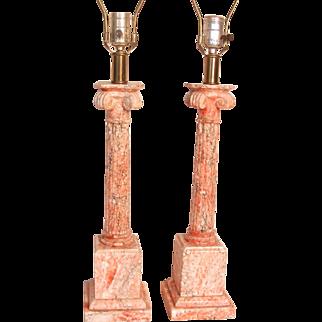Pair Marble Corinthian Column Table Lamps Salmon Pink - Burnt Sienna