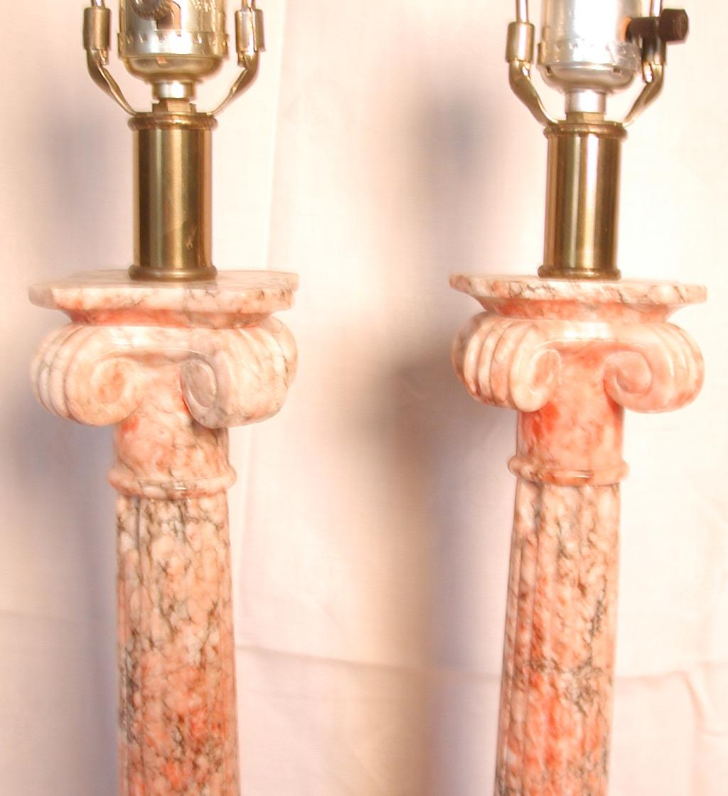 Pair marble corinthian column table lamps salmon pink burnt roll over large image to magnify click large image to zoom geotapseo Choice Image