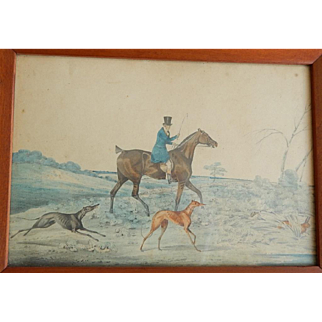 C.1840 English Sporting Painting Hunter on Horse with  Greyhounds Watercolor