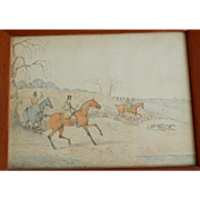 C.1840 English Sporting Painting Hunters, Horses, Foxhounds Watercolor