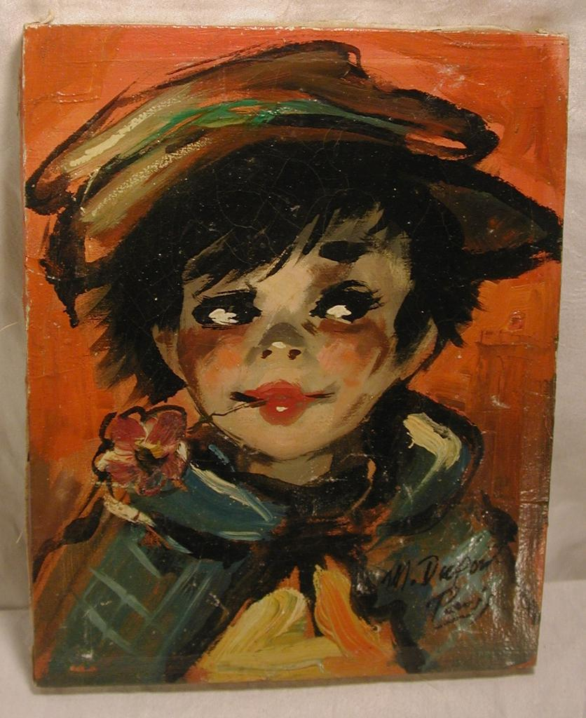 Signed Dupont Paris Oil Painting Street Urchin Child Vintage from ...