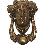 Victorian Brass Figural Door Knocker Bacchus Head