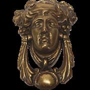 Victorian Brass Figural Door Knocker Bacchus Head