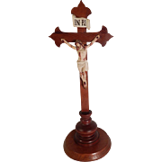 """Large Antique Standing Crucifix Oak and Hand Painted Plaster 18"""""""