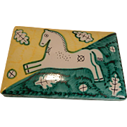 Cantagalli Italy Pottery Box with Horse Mid Century Modern Italian As Is