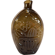 Antique Olive Green Flask Cornucopia and Urn C.1850