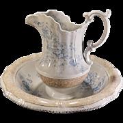 "Victorian Transferware Blue & White Pitcher and Bowl Set ""PRIMULA"" Dunn Bennett Co."