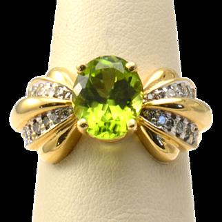 14k Yellow Gold, Peridot and Diamond Ring
