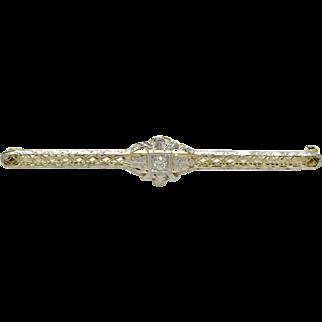 Vintage 14k Yellow Gold, Platinum Top, and Diamond Filigree Bar Pin
