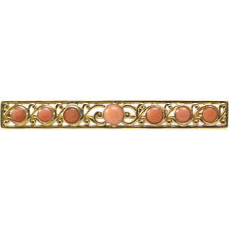 Vintage 14k Yellow Gold and Natural Angel Skin Coral Pin/Pendant