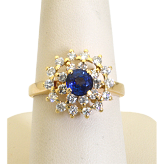 Vintage 14k Yellow Gold, Blue Ceylon Sapphire and Diamond Ring