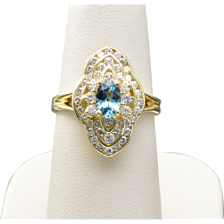 Vintage 14k Yellow Gold, Indicolite and Diamond Ring