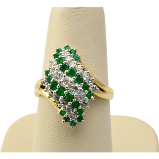 Vintage 14k Yellow and White Gold, Emerald and Diamond Ring