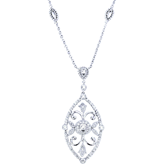 14k White Gold Elegant Diamond Cluster Pendant on Fancy Chain Necklace