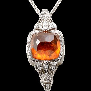 14K White Gold, Spessartite Garnet and Diamond Pendant