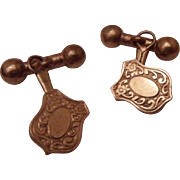 Great Antique Victorian 9ct Rose Gold Filled Repousse Cufflinks