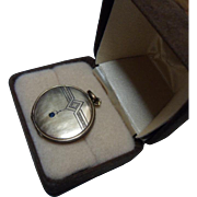 Antique Edwardian Gem set Sentimental Photo Locket. Rose Gold filled C1910