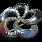 Antique Victorian Silver Scottish Celtic Agate 'Pebble' Brooch Pin C1880