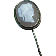 Antique Victorian Cameo and Pinchbeck Stick / Stock Pin C1840