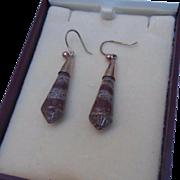 WINTER SALE! Superb Antique Victorian 9ct Rose Gold & Sardonyx Long Drop Hook Earrings