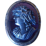 WINTER SALE! Rare Antique Victorian Silver Bust on Amethyst Glass Cameo Brooch Pin C1860