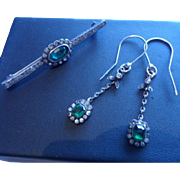 Pristine Edwardian Pastes! Pair of French 800 Silver Delicate Dangling Drop Earrings and Similar 935 Bar Brooch C1905