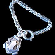 Unusual Antique Victorian Part Dress Watch Chain Bracelet & Elaborate HM Silver Fob