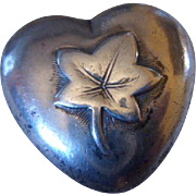 Unusual Antique Victorian Sterling Silver Puffy Heart Brooch Pin C1900