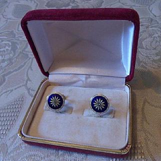 Pristine Antique English Edwardian 18ct Gold & Enamel Screw-on Earrings