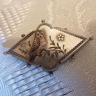 Sweet Antique Victorian HM English Sterling Silver & 9ct Gold Flash Owl Brooch Pin