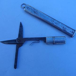 Scarce Antique Edwardian HM Silver Chatelaine Etui Scissor Case Pendant