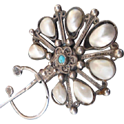 Ornate Antique 19th Century Empire Silver,Natural Blister Pearl & Turquoise Formal Turban Pin