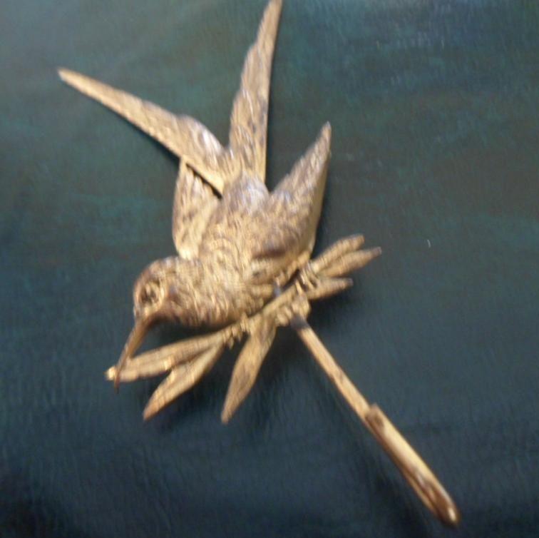 Ravishing Antique French Aesthetic Art Nouveau Gilt Metal Ladies Watch or Necklace Hanger