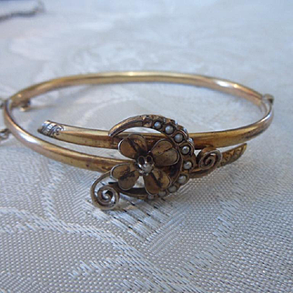 Antique Edwardian 9ct Gold Filled Natural Seed Pearl Small Bangle Bracelet