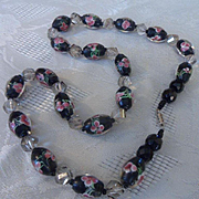 Awesome Vintage Art Deco Lampwork & Hand Cut Crystal Bead Necklace