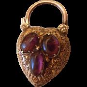 RESERVED FOR CHRISTINE Scarce Antique Georgian 15ct Gold & Almandine Garnets Locket Padlock