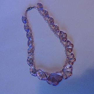 Prettiest Pink Vintage Art Deco Graduated Crystal Fans Necklace