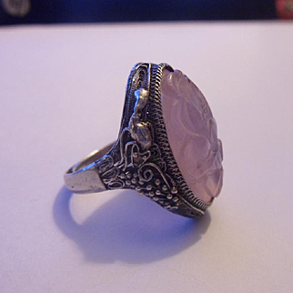 Large Vintage Chinese Silver Hand Carved Rose Quartz Cocktail Ring